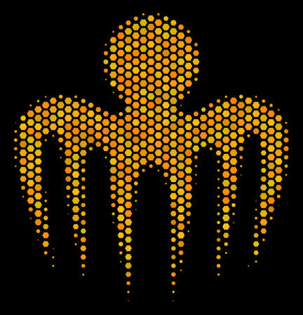 Halftone hexagon Spectre Octopus icon. Bright gold pictogram with honeycomb geometric structure on a black background. Vector collage of spectre octopus icon made of hexagonal dots. Illustration