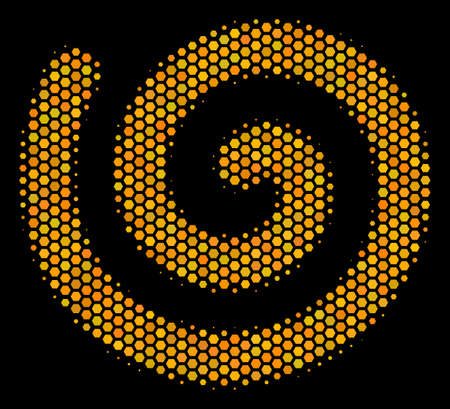 Halftone hexagonal Spiral icon. Bright yellow pictogram with honeycomb geometric structure on a black background. Vector concept of spiral icon combined of honeycomb cells.