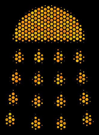 Halftone hexagonal Spray Stream icon. Bright yellow pictogram with honey comb geometric structure on a black background. Vector pattern of spray stream icon created of honeycomb cells.