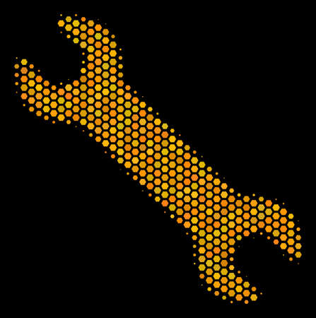Halftone hexagon Wrench icon. Bright golden pictogram with honey comb geometric structure on a black background. Vector collage of wrench icon created of honeycomb blots. Ilustrace