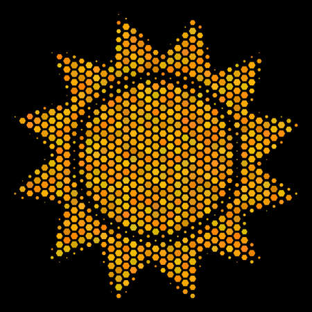 Halftone hexagon Sun icon. Bright golden pictogram with honey comb geometric structure on a black background. Vector collage of sun icon organized of honeycomb pixels.