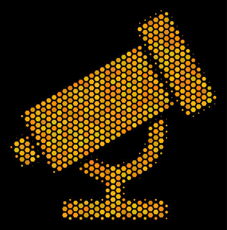Halftone hexagonal Telescope icon. Bright gold pictogram with honey comb geometric pattern on a black background. Vector composition of telescope icon organized of hexagonal blots.