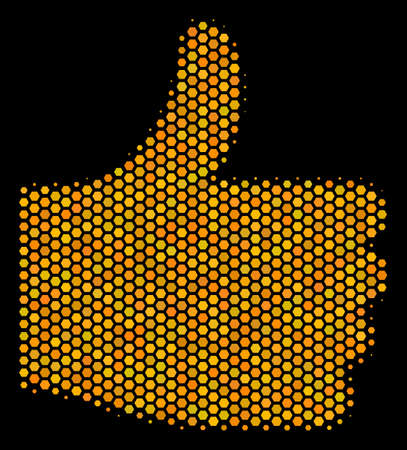 Halftone hexagon Thumb Up icon. Bright yellow pictogram with honeycomb geometric structure on a black background. Vector concept of thumb up icon composed of hexagonal blots. Illustration