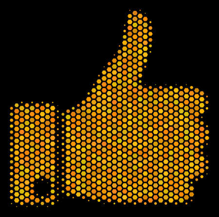 Halftone hexagonal Thumb Up icon. Bright gold pictogram with honey comb geometric structure on a black background. Vector concept of thumb up icon composed of hexagon dots. Vectores