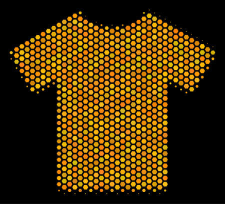 Halftone hexagon T-Shirt icon. Bright gold pictogram with honeycomb geometric structure on a black background. Vector pattern of t-shirt icon constructed of honeycomb pixels. Illustration