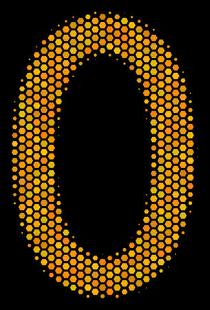 Halftone hexagon Zero Digit icon. Bright yellow pictograph with honey comb geometric pattern on a black background.