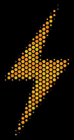 Halftone hexagon Electric Bolt icon. Bright golden pictogram with honey comb geometric structure on a black background. Vector pattern of electric bolt icon designed of honeycomb items.