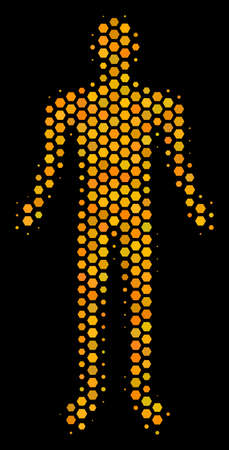 Halftone hexagon Human icon. Bright golden pictogram with honey comb geometric structure on a black background. Vector mosaic of human icon done of honeycomb spots. Illustration