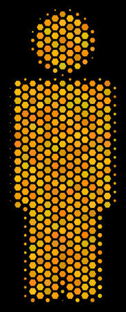 Halftone hexagonal Person icon. Bright gold pictogram with honeycomb geometric pattern on a black background. Vector pattern of person icon organized of hexagonal cells.
