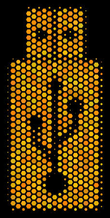 Halftone hexagon USB Flash Drive icon. Bright gold pictogram with honey comb geometric structure on a black background. Vector mosaic of usb flash drive icon composed of honeycomb dots.
