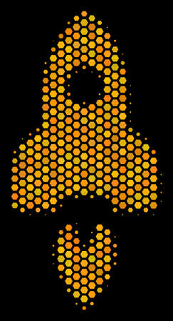 Halftone hexagonal Space Rocket icon. Bright yellow pictogram with honeycomb geometric pattern on a black background. Vector concept of space rocket icon done of honeycomb dots. Illustration