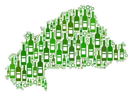 Burkina Faso Map collage of alcohol bottles and round bubbles in various sizes and green color tones. Abstract Burkina Faso Map vector composition. Illustration