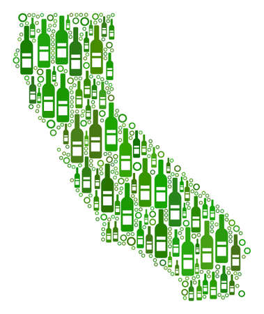 California Map collage of wine bottles and circle bubbles in different sizes and green color tones. Abstract California Map vector combination. Ilustracja