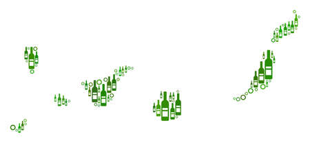 Canarian Spain Islands Map mosaic of wine bottles and circle particles in variable sizes and green color tinges. Abstract Canarian Spain Islands Map vector composition.