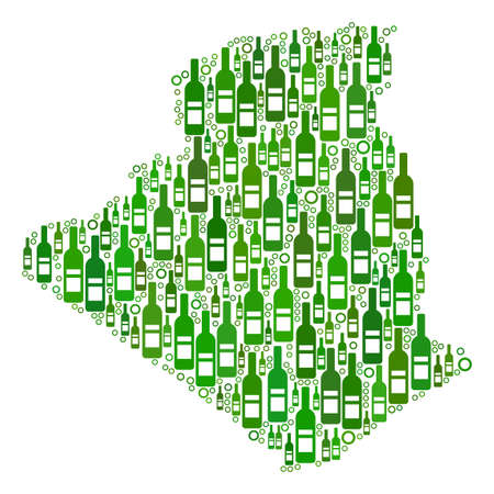 Algeria Map mosaic of alcohol bottles and round bubbles in variable sizes and green color tinges. Abstract Algeria Map vector composition. Illusztráció