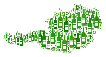 Austria Map collage of alcohol bottles and spheric bubbles in different sizes and green color shades. Abstract Austria Map vector composition.