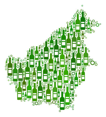 Borneo Island Map collage of alcohol bottles and empty circles in variable sizes and green color tinges.