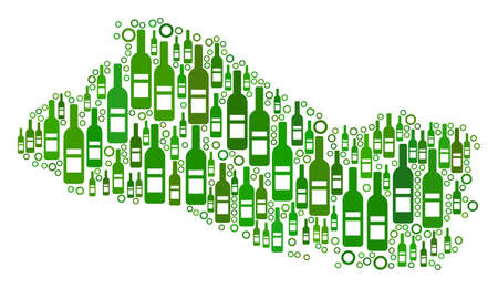 El Salvador Map collage of alcohol bottles and round bubbles in variable sizes and green color shades.