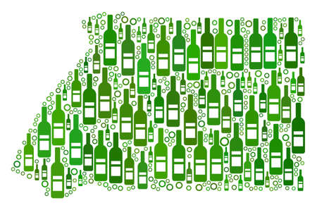 Equatorial Guinea Map mosaic of wine bottles and empty circles in different sizes and green color hues.