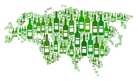 Eurasia Map mosaic of alcohol bottles and spheric bubbles in various sizes and green color hues. Abstract Eurasia Map vector composition. Illustration