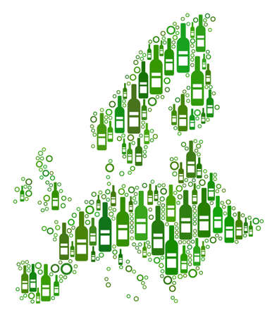 European Union Map mosaic of alcohol bottles and circle particles in variable sizes and green color tints.