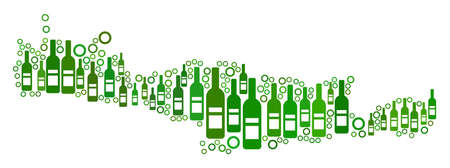 Crete Island Map mosaic of alcohol bottles and round bubbles in variable sizes and green color tints. Abstract Crete Island Map vector composition.  イラスト・ベクター素材