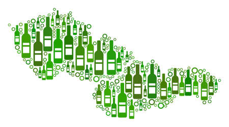 Czechoslovakia Map mosaic of wine bottles and circles in different sizes and green color tints. Abstract Czechoslovakia Map vector composition.