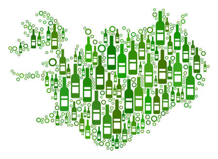 Iceland Map mosaic of wine bottles and circle bubbles in different sizes and green color tints. Abstract Iceland Map vector combination.