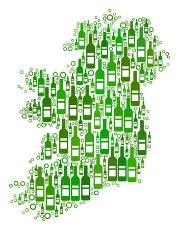 Ireland Island Map collage of alcohol bottles and circle bubbles in variable sizes and green color variations. Abstract Ireland Island Map vector composition.