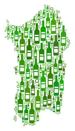 Italian Sardinia Island Map collage of wine bottles and circles in various sizes and green color tints. Abstract Italian Sardinia Island Map vector combination.