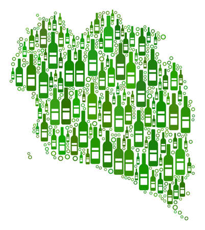 Koh Phangan Thai Island Map mosaic of alcohol bottles and circles in different sizes and green color tints. Abstract Koh Phangan Thai Island Map vector combination.