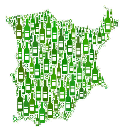 Koh Samui Map mosaic of wine bottles and spheric bubbles in various sizes and green color tinges. Abstract Koh Samui Map vector combination.