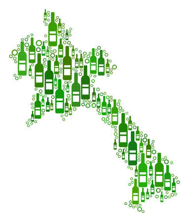 Laos Map mosaic of alcohol bottles and circle particles in various sizes and green color shades. Abstract Laos Map vector combination.