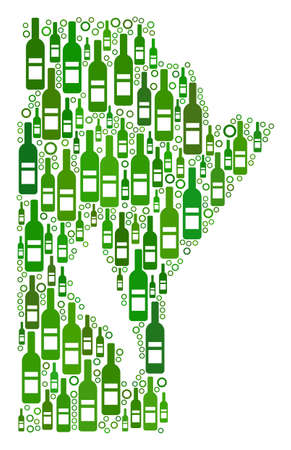 Manitoba Province Map collage of wine bottles and round bubbles in various sizes and green color tones. Abstract Manitoba Province Map vector composition.