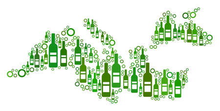 Mediterranean Sea Map mosaic of alcohol bottles and circles in variable sizes and green color shades. Abstract Mediterranean Sea Map vector composition.