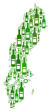 Sweden Map mosaic of wine bottles and spheric bubbles in different sizes and green color hues. Abstract Sweden Map vector combination. Illustration