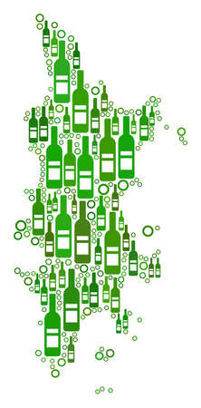 Phuket Map collage of alcohol bottles and circle particles in different sizes and green color shades. Abstract Phuket Map vector composition.