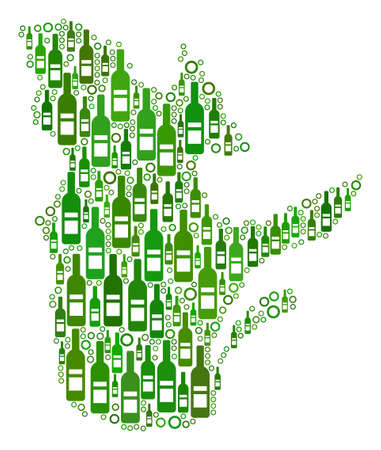 Quebec Province Map collage of wine bottles and round bubbles in variable sizes and green color tinges. Abstract Quebec Province Map vector composition.
