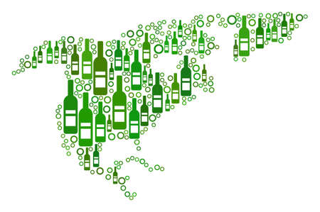 North America Map collage of alcohol bottles and round bubbles in variable sizes and green color shades. Abstract North America Map vector composition. Illusztráció