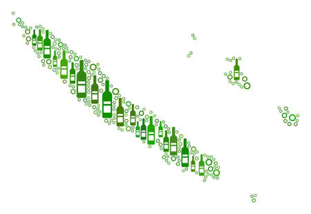 New Caledonia Islands Map mosaic of wine bottles and spheric bubbles in variable sizes and green color tints. Abstract New Caledonia Islands Map vector composition.