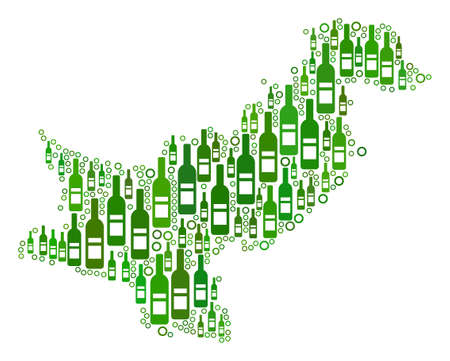 Pakistan Map mosaic of alcohol bottles and circle bubbles in variable sizes and green color tints. Abstract Pakistan Map vector combination. Иллюстрация