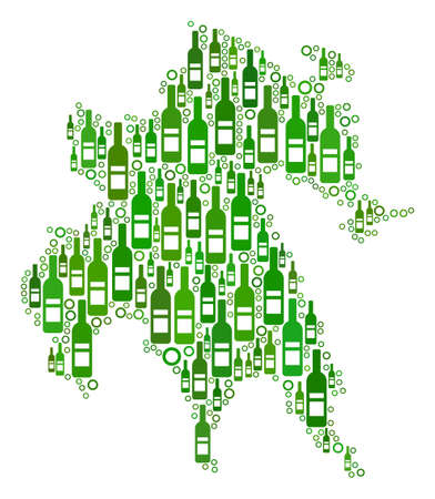 Peloponnese Half-Island Map collage of alcohol bottles and circles in various sizes and green color variations. Abstract Peloponnese Half-Island Map vector composition.