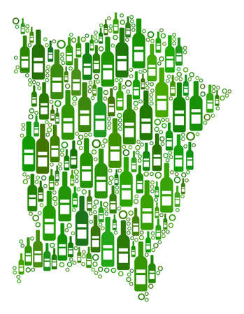 Penang Island Map collage of wine bottles and spheric bubbles in variable sizes and green color hues. Abstract Penang Island Map vector combination.