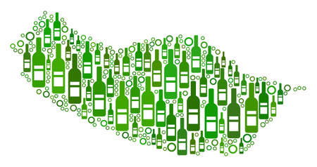 Portugal Madeira Island Map mosaic of wine bottles and spheric bubbles in variable sizes and green color tinges. Abstract Portugal Madeira Island Map vector combination.