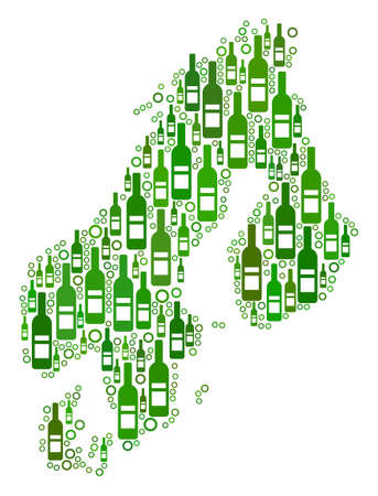 Scandinavia Map collage of wine bottles and circle particles in various sizes and green color hues. Abstract Scandinavia Map vector composition.