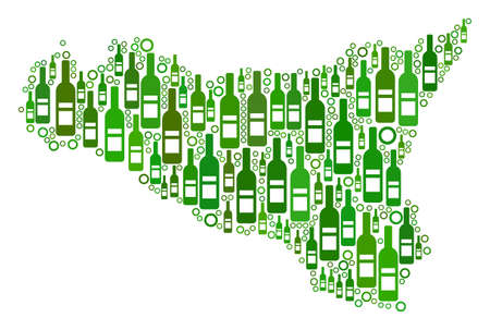 Sicilia Map mosaic of wine bottles and round bubbles in various sizes and green color tints. Abstract Sicilia Map vector combination.