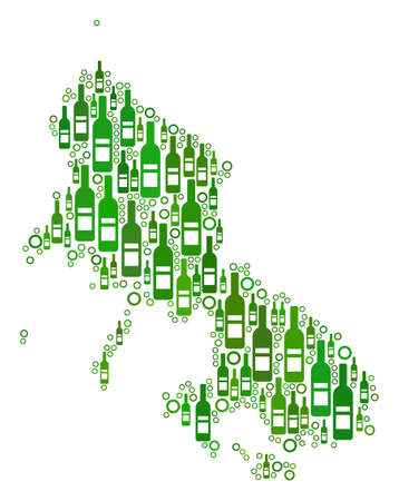 Skyros Greek Island Map collage of alcohol bottles and circles in variable sizes and green color hues. Abstract Skyros Greek Island Map vector combination.