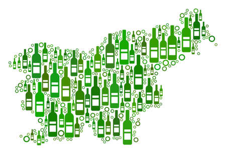 Slovenia Map mosaic of alcohol bottles and circle bubbles in various sizes and green color shades. Abstract Slovenia Map vector composition. 일러스트