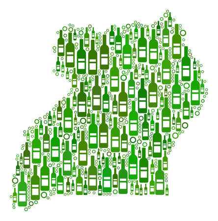 Uganda Map mosaic of alcohol bottles and empty circles in variable sizes and green color shades. Abstract Uganda Map vector composition.