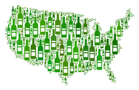 USA Map mosaic of alcohol bottles and spheric bubbles in variable sizes and green color hues. Abstract USA Map vector combination.